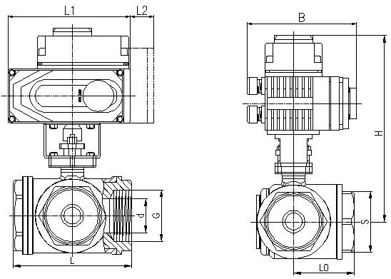 电动三通球阀(螺纹)结构
