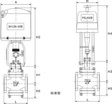 電動單座調節閥尺寸圖