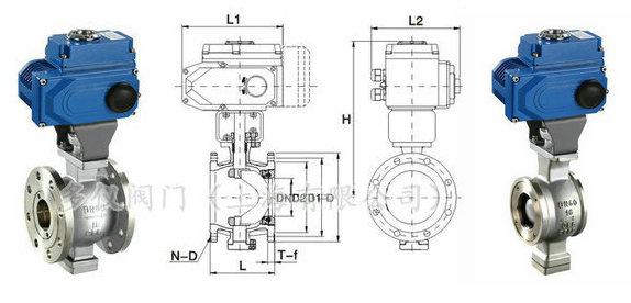 电动v型球阀_电动v型调节球阀_上海多仪阀门图片